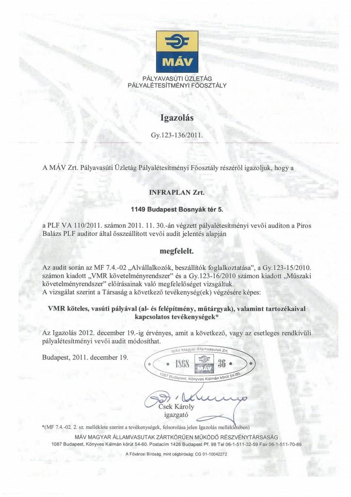 MÁV Pályavasúti Üzletág pályalétesítményi Főosztály igazolása